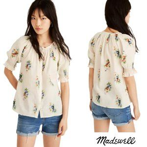 Madewell Floral Smock Button Down Blouse